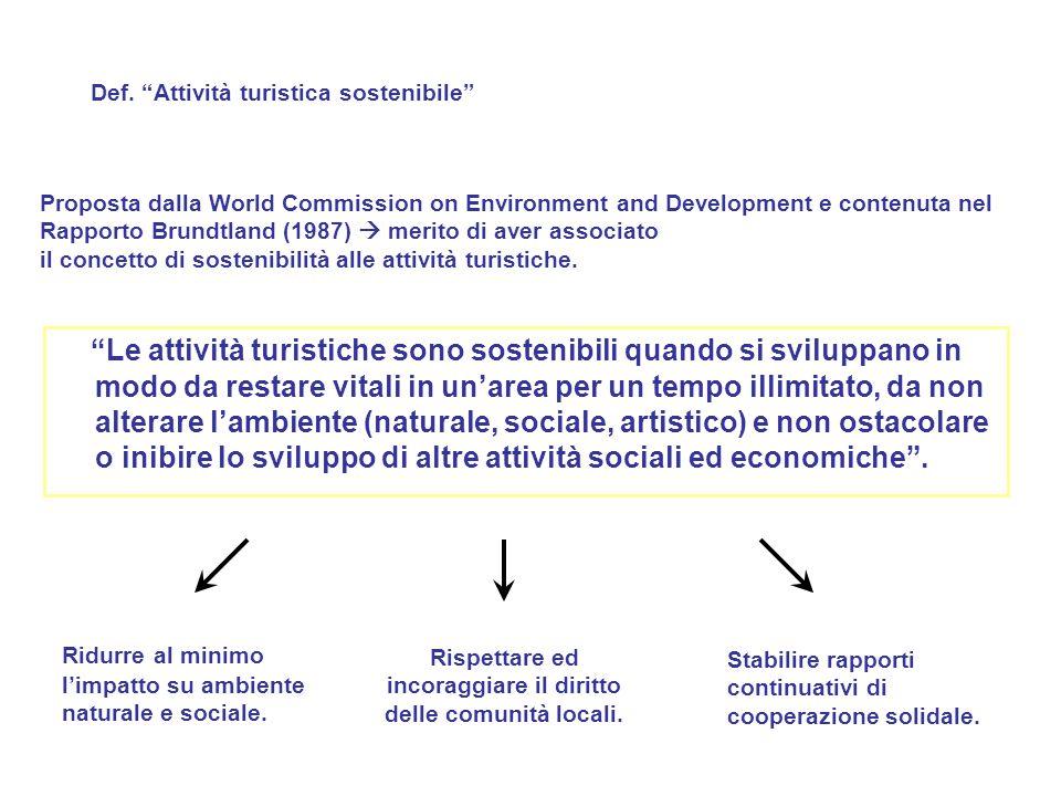Proposta dalla World Commission on Environment and Development e contenuta nel Rapporto Brundtland (1987)  merito di aver associato il concetto di so