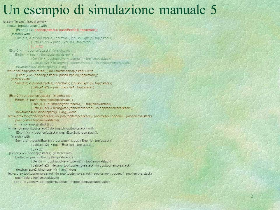 21 Un esempio di simulazione manuale 5 let sem ((e:exp), (r:eval env)) =... (match top(top(cstack)) with |Expr1(x) -> (pop(top(cstack)); push(Expr2(x)