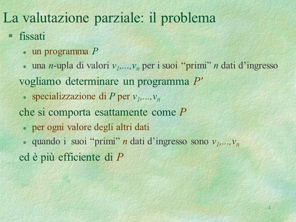"""4 La valutazione parziale: il problema §fissati l un programma P l una n-upla di valori v 1,...,v n per i suoi """"primi"""" n dati d'ingresso vogliamo dete"""