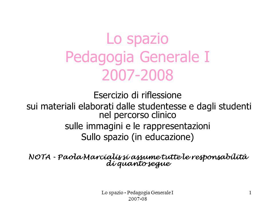 Lo spazio - Pedagogia Generale I 2007-08 2 Da dove partiamo.