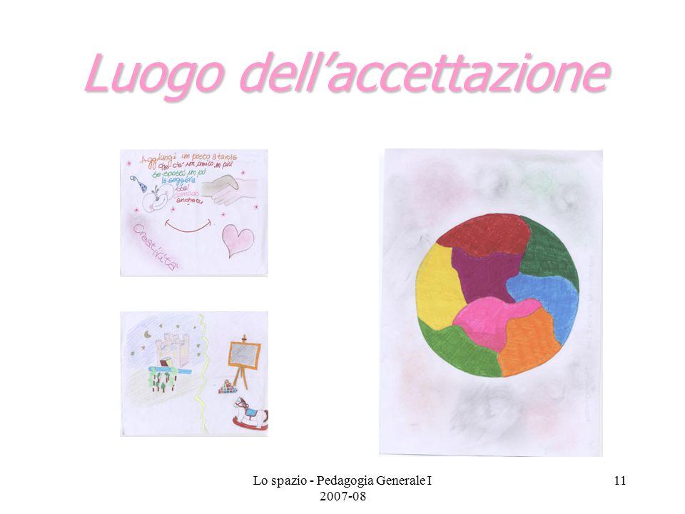 Lo spazio - Pedagogia Generale I 2007-08 11 Luogo dell'accettazione