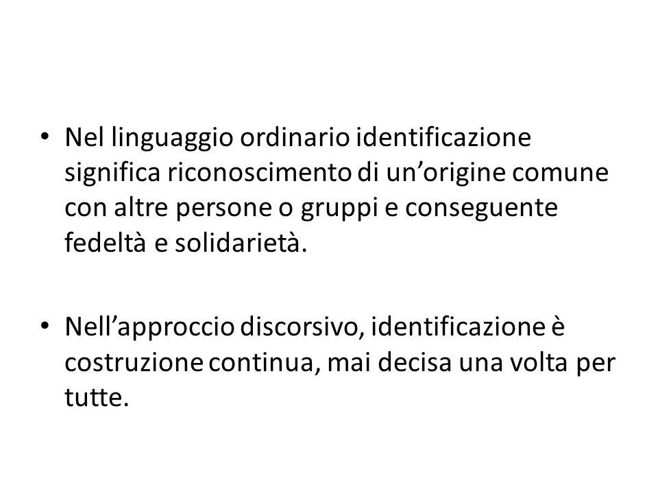 Nel linguaggio ordinario identificazione significa riconoscimento di un'origine comune con altre persone o gruppi e conseguente fedeltà e solidarietà.