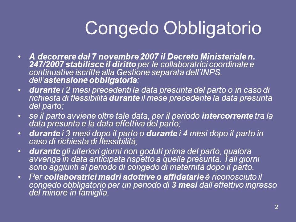 2 Congedo Obbligatorio A decorrere dal 7 novembre 2007 il Decreto Ministeriale n. 247/2007 stabilisce il diritto per le collaboratrici coordinate e co