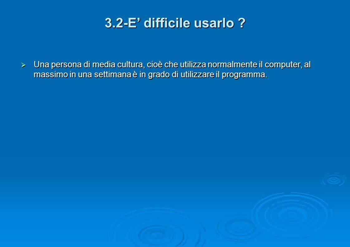 3.2-E' difficile usarlo .