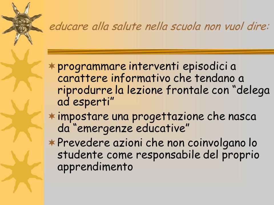 educare alla salute nella scuola non vuol dire:  programmare interventi episodici a carattere informativo che tendano a riprodurre la lezione frontal