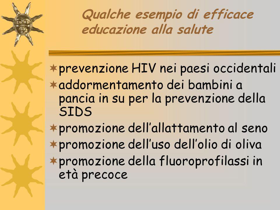 Qualche esempio di efficace educazione alla salute  prevenzione HIV nei paesi occidentali  addormentamento dei bambini a pancia in su per la prevenz