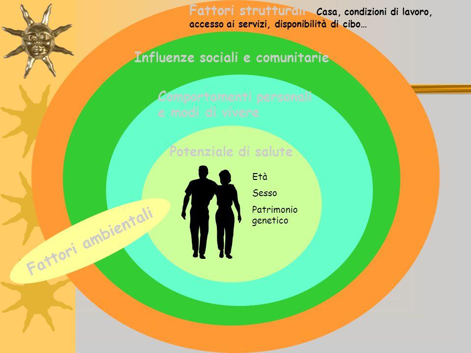 Età Sesso Patrimonio genetico Potenziale di salute Comportamenti personali e modi di vivere Influenze sociali e comunitarie Fattori strutturali Casa,