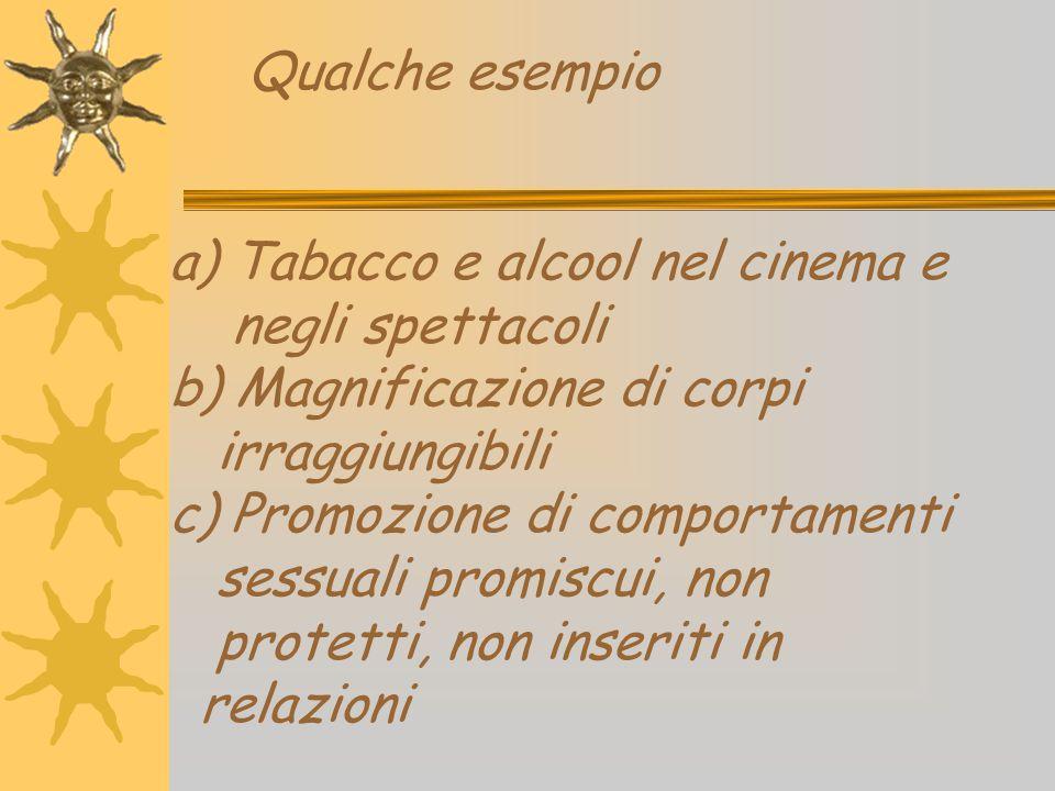 Qualche esempio a) Tabacco e alcool nel cinema e negli spettacoli b) Magnificazione di corpi irraggiungibili c) Promozione di comportamenti sessuali p