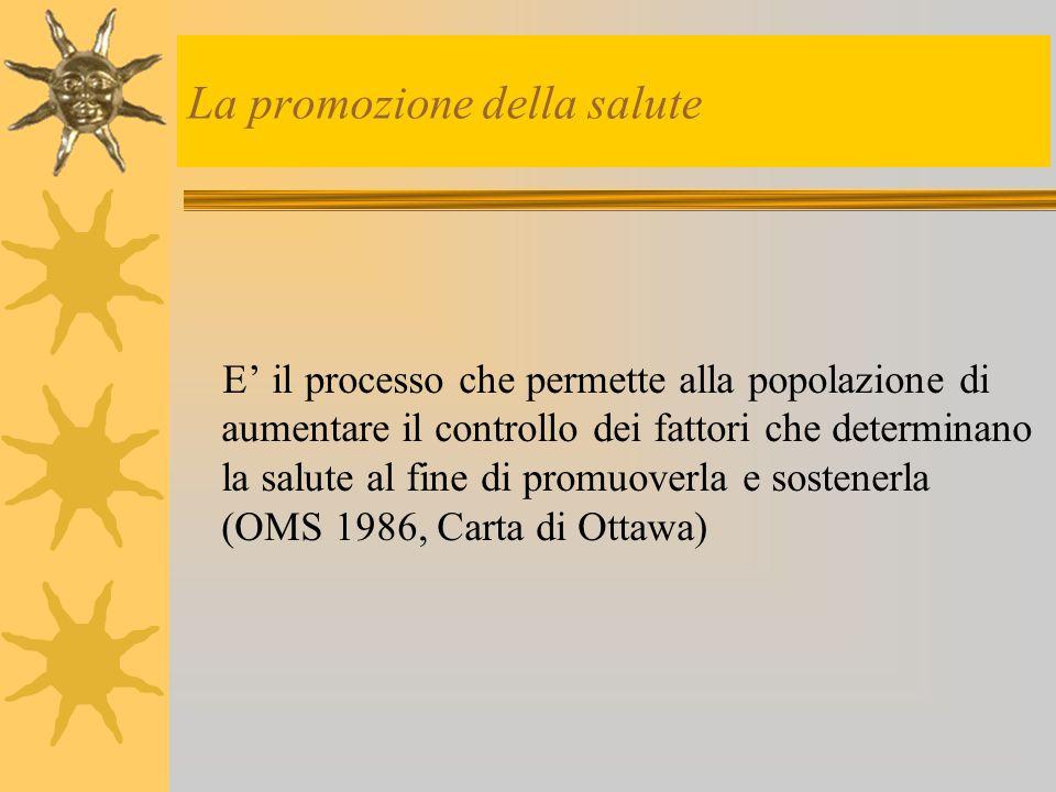 La promozione della salute E' il processo che permette alla popolazione di aumentare il controllo dei fattori che determinano la salute al fine di pro