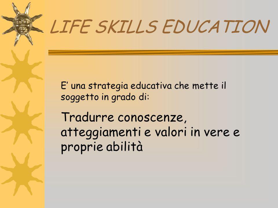 LIFE SKILLS EDUCATION E' una strategia educativa che mette il soggetto in grado di: Tradurre conoscenze, atteggiamenti e valori in vere e proprie abil