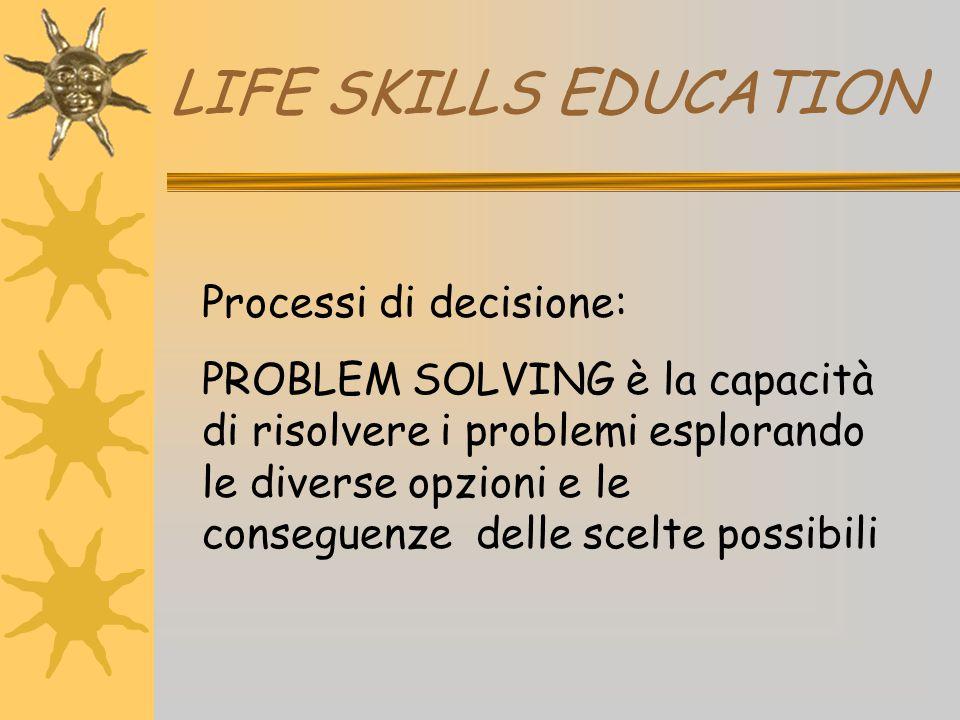 LIFE SKILLS EDUCATION Processi di decisione: PROBLEM SOLVING è la capacità di risolvere i problemi esplorando le diverse opzioni e le conseguenze dell
