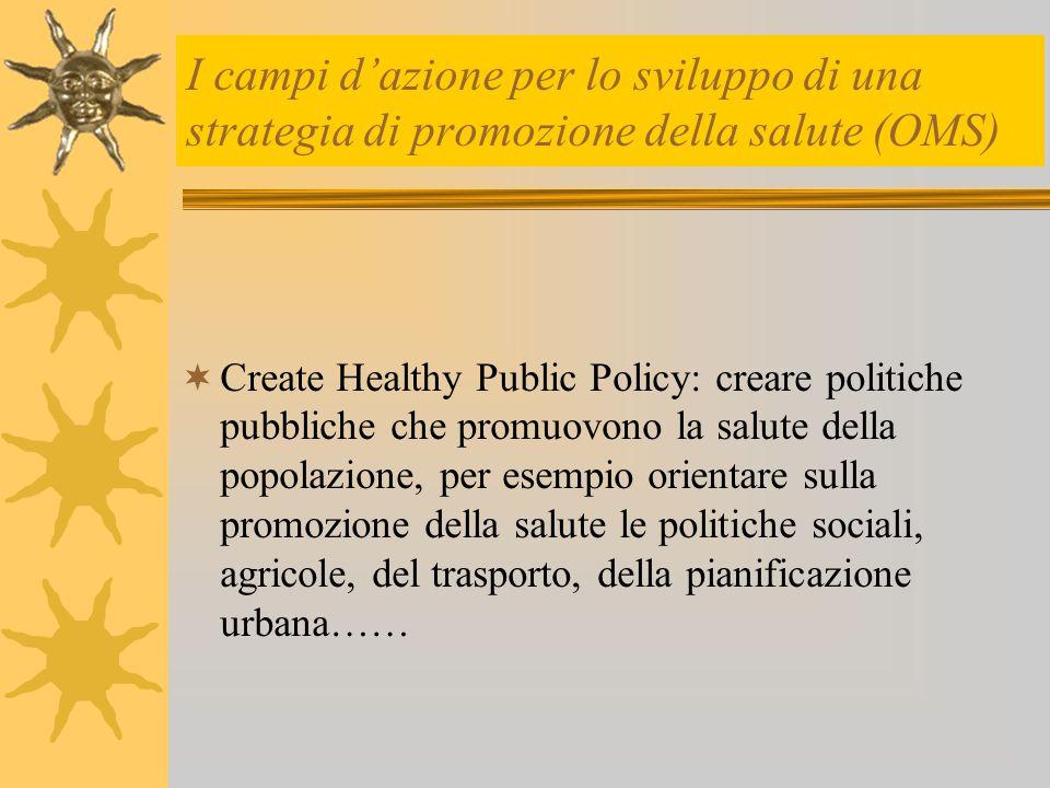 I campi d'azione per lo sviluppo di una strategia di promozione della salute (OMS)  Create Healthy Public Policy: creare politiche pubbliche che prom