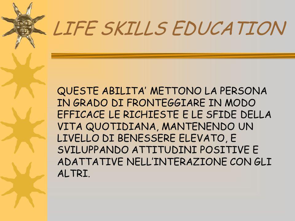 LIFE SKILLS EDUCATION QUESTE ABILITA' METTONO LA PERSONA IN GRADO DI FRONTEGGIARE IN MODO EFFICACE LE RICHIESTE E LE SFIDE DELLA VITA QUOTIDIANA, MANT