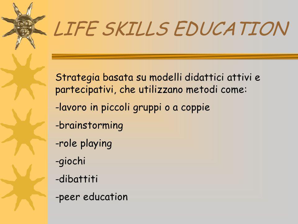 LIFE SKILLS EDUCATION Strategia basata su modelli didattici attivi e partecipativi, che utilizzano metodi come: -lavoro in piccoli gruppi o a coppie -