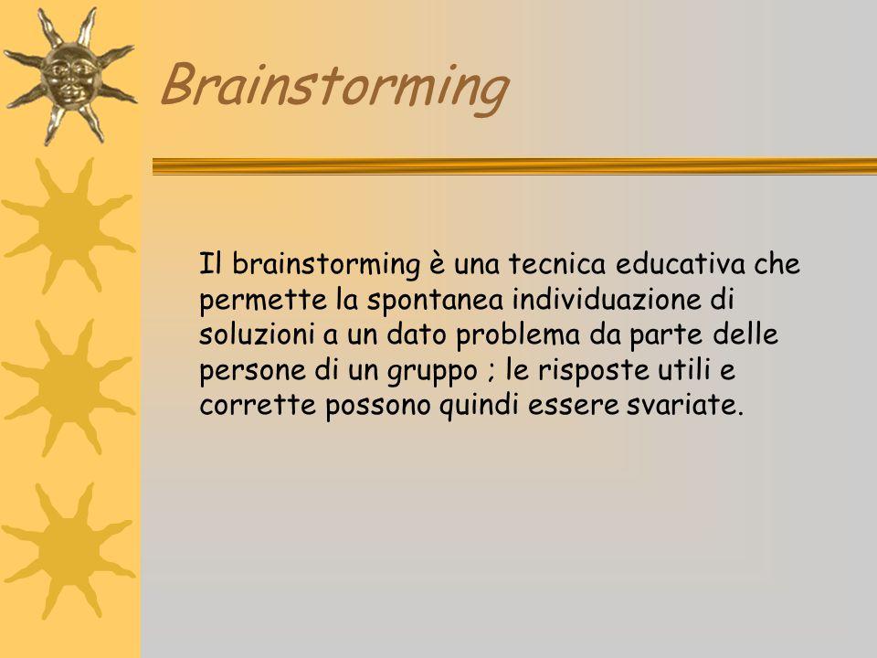 Brainstorming Il brainstorming è una tecnica educativa che permette la spontanea individuazione di soluzioni a un dato problema da parte delle persone