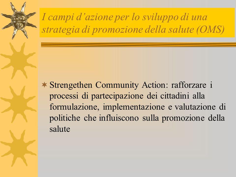 I campi d'azione per lo sviluppo di una strategia di promozione della salute (OMS)  Strengethen Community Action: rafforzare i processi di partecipaz