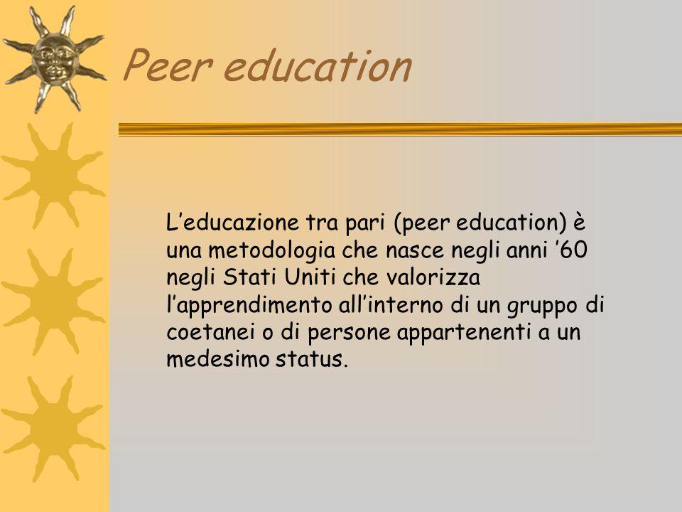 Peer education L'educazione tra pari (peer education) è una metodologia che nasce negli anni '60 negli Stati Uniti che valorizza l'apprendimento all'i