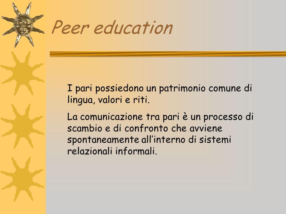 Peer education I pari possiedono un patrimonio comune di lingua, valori e riti. La comunicazione tra pari è un processo di scambio e di confronto che