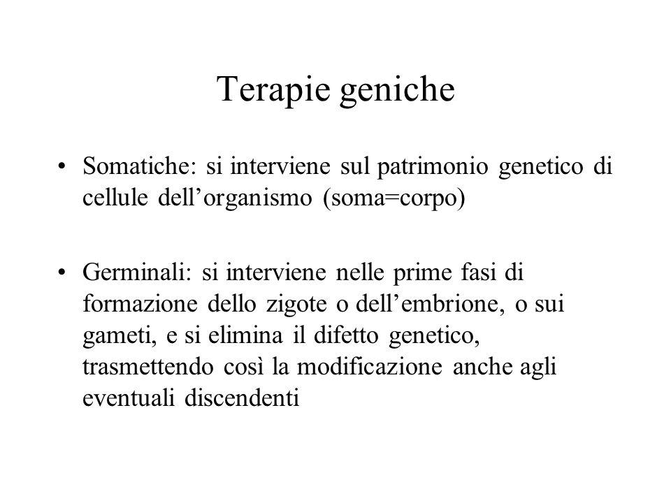 Terapie geniche Somatiche: si interviene sul patrimonio genetico di cellule dell'organismo (soma=corpo) Germinali: si interviene nelle prime fasi di f