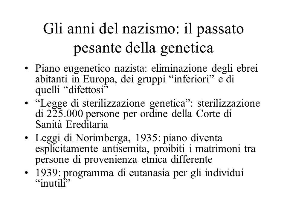 """Gli anni del nazismo: il passato pesante della genetica Piano eugenetico nazista: eliminazione degli ebrei abitanti in Europa, dei gruppi """"inferiori"""""""