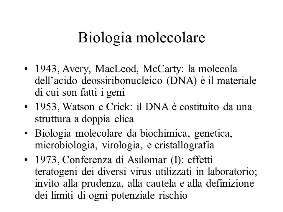 Biologia molecolare 1943, Avery, MacLeod, McCarty: la molecola dell'acido deossiribonucleico (DNA) è il materiale di cui son fatti i geni 1953, Watson