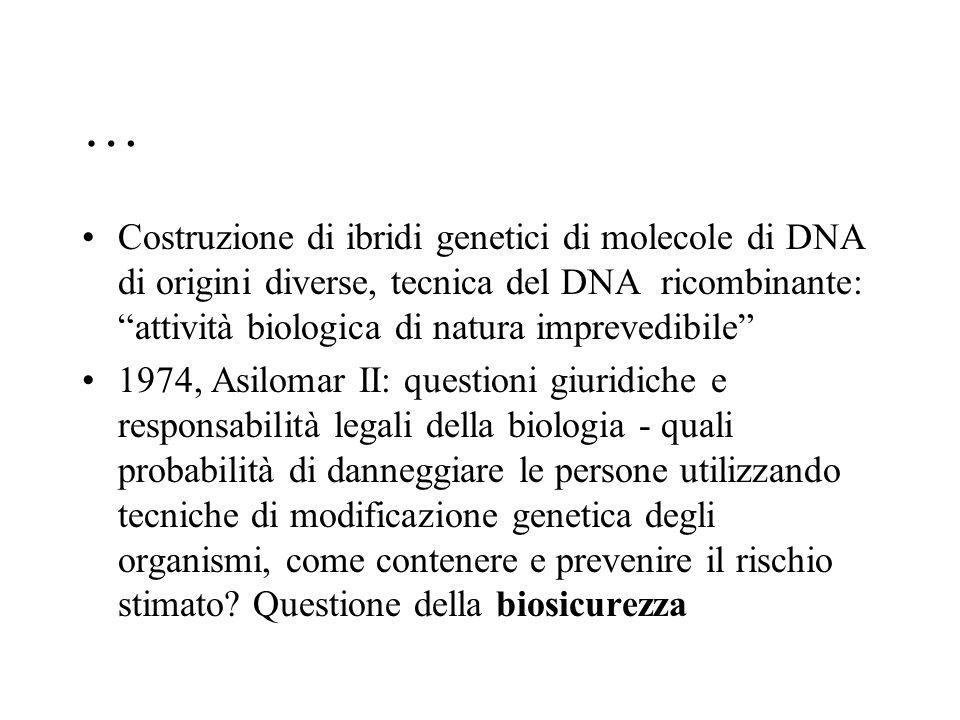 """… Costruzione di ibridi genetici di molecole di DNA di origini diverse, tecnica del DNA ricombinante: """"attività biologica di natura imprevedibile"""" 197"""