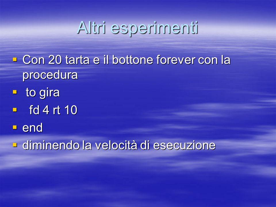 Altri esperimenti  Con 20 tarta e il bottone forever con la procedura  to gira  fd 4 rt 10  end  diminendo la velocità di esecuzione