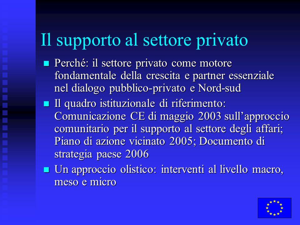 Il supporto al settore privato Perché: il settore privato come motore fondamentale della crescita e partner essenziale nel dialogo pubblico-privato e Nord-sud Perché: il settore privato come motore fondamentale della crescita e partner essenziale nel dialogo pubblico-privato e Nord-sud Il quadro istituzionale di riferimento: Comunicazione CE di maggio 2003 sull'approccio comunitario per il supporto al settore degli affari; Piano di azione vicinato 2005; Documento di strategia paese 2006 Il quadro istituzionale di riferimento: Comunicazione CE di maggio 2003 sull'approccio comunitario per il supporto al settore degli affari; Piano di azione vicinato 2005; Documento di strategia paese 2006 Un approccio olistico: interventi al livello macro, meso e micro Un approccio olistico: interventi al livello macro, meso e micro