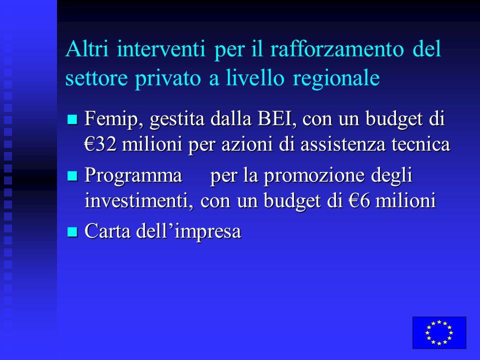 Altri interventi per il rafforzamento del settore privato a livello regionale Femip, gestita dalla BEI, con un budget di €32 milioni per azioni di ass