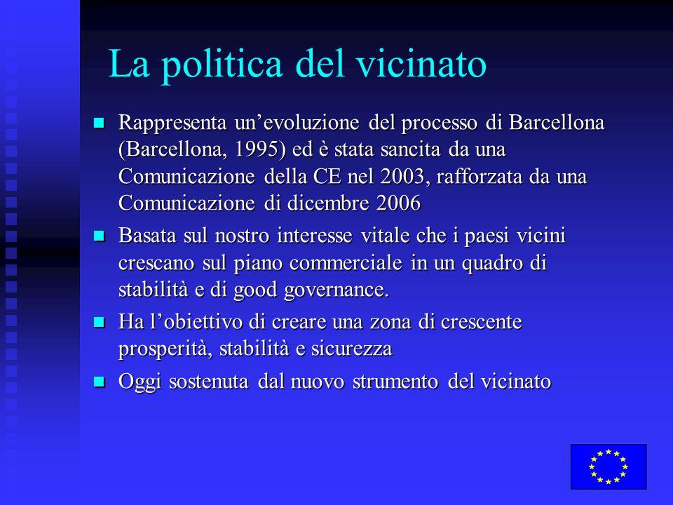 La politica del vicinato Rappresenta un'evoluzione del processo di Barcellona (Barcellona, 1995) ed è stata sancita da una Comunicazione della CE nel 2003, rafforzata da una Comunicazione di dicembre 2006 Rappresenta un'evoluzione del processo di Barcellona (Barcellona, 1995) ed è stata sancita da una Comunicazione della CE nel 2003, rafforzata da una Comunicazione di dicembre 2006 Basata sul nostro interesse vitale che i paesi vicini crescano sul piano commerciale in un quadro di stabilità e di good governance.