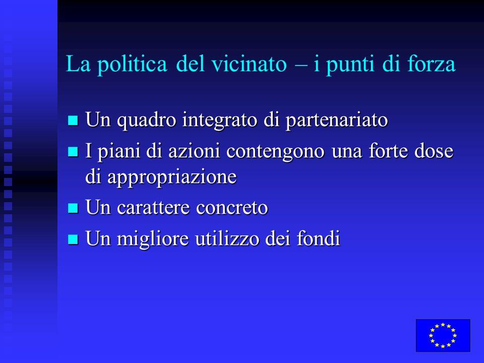La politica del vicinato – i punti di forza Un quadro integrato di partenariato Un quadro integrato di partenariato I piani di azioni contengono una f