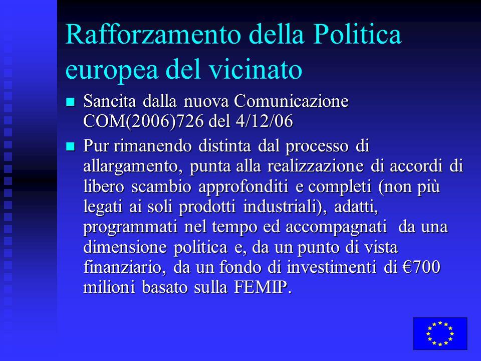 Rafforzamento della Politica europea del vicinato Sancita dalla nuova Comunicazione COM(2006)726 del 4/12/06 Sancita dalla nuova Comunicazione COM(2006)726 del 4/12/06 Pur rimanendo distinta dal processo di allargamento, punta alla realizzazione di accordi di libero scambio approfonditi e completi (non più legati ai soli prodotti industriali), adatti, programmati nel tempo ed accompagnati da una dimensione politica e, da un punto di vista finanziario, da un fondo di investimenti di €700 milioni basato sulla FEMIP.