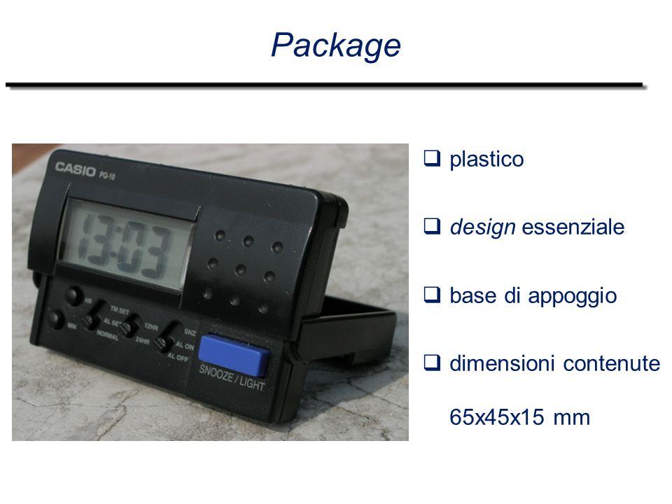 Package  plastico  design essenziale  base di appoggio  dimensioni contenute 65x45x15 mm