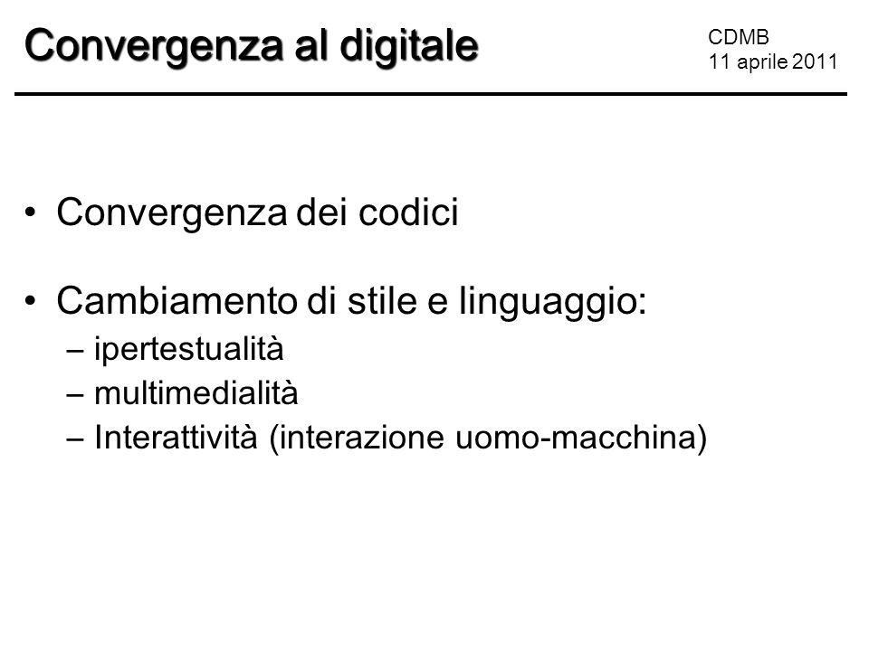 CDMB 11 aprile 2011 Convergenza al digitale Convergenza dei codici Cambiamento di stile e linguaggio: –ipertestualità –multimedialità –Interattività (interazione uomo-macchina)