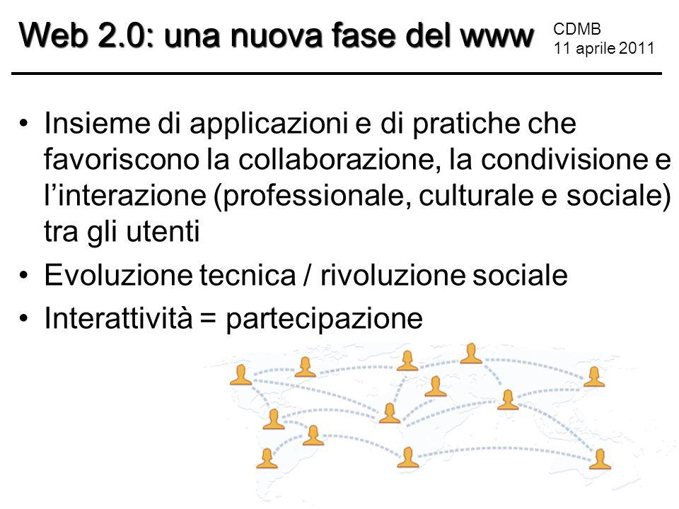 CDMB 11 aprile 2011 Web 2.0: una nuova fase del www Insieme di applicazioni e di pratiche che favoriscono la collaborazione, la condivisione e l'interazione (professionale, culturale e sociale) tra gli utenti Evoluzione tecnica / rivoluzione sociale Interattività = partecipazione