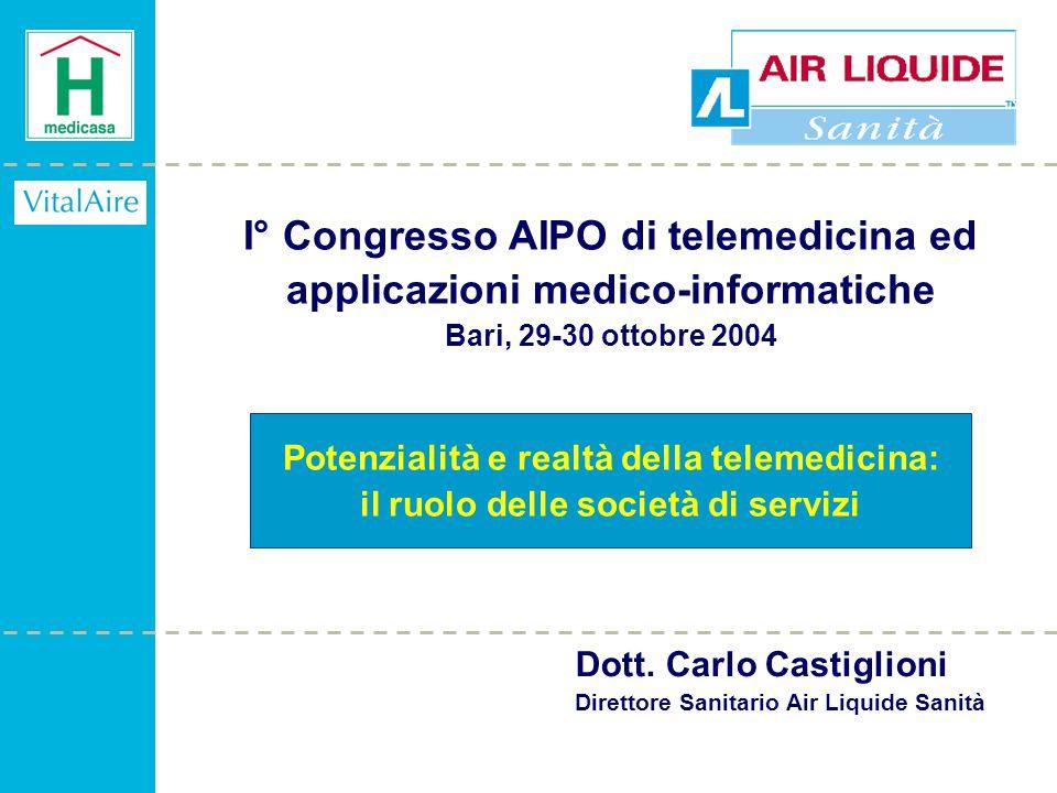 I° Congresso AIPO di telemedicina ed applicazioni medico-informatiche Bari, 29-30 ottobre 2004 Potenzialità e realtà della telemedicina: il ruolo delle società di servizi Dott.