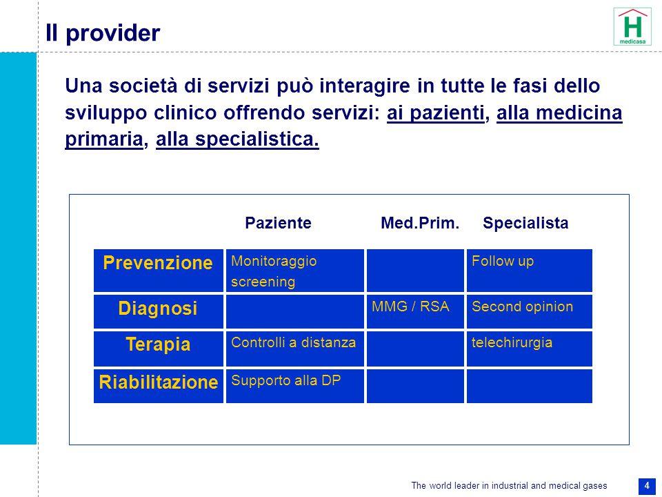The world leader in industrial and medical gases 4 Il provider Una società di servizi può interagire in tutte le fasi dello sviluppo clinico offrendo servizi: ai pazienti, alla medicina primaria, alla specialistica.