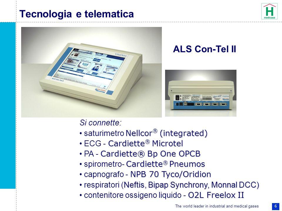 The world leader in industrial and medical gases 6 Tecnologia e telematica Si connette: Nellcor ® (integrated) saturimetro Nellcor ® (integrated) Card