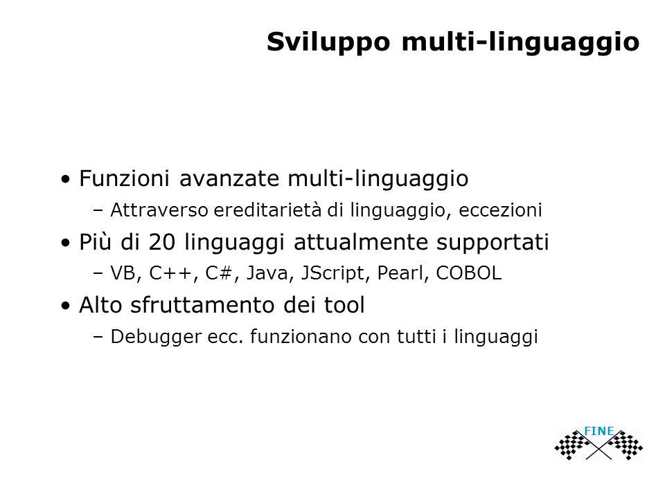 Sviluppo multi-linguaggio Funzioni avanzate multi-linguaggio – Attraverso ereditarietà di linguaggio, eccezioni Più di 20 linguaggi attualmente supportati – VB, C++, C#, Java, JScript, Pearl, COBOL Alto sfruttamento dei tool – Debugger ecc.