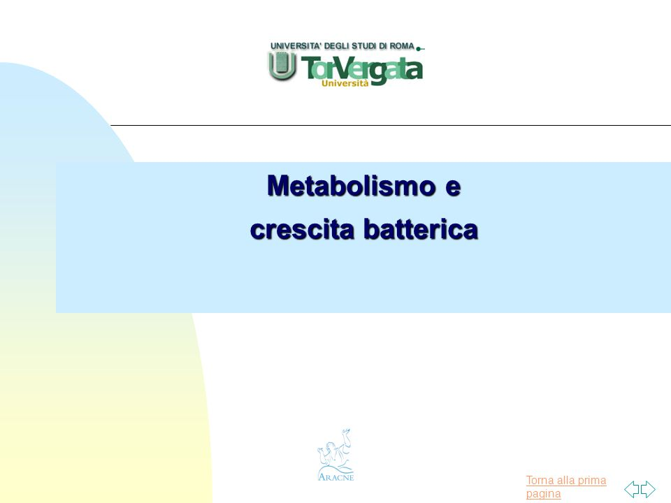 Torna alla prima pagina Metabolismo e crescita batterica