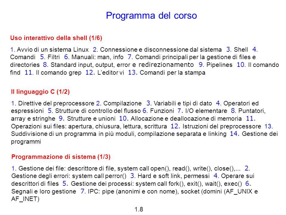 1.8 Programma del corso Uso interattivo della shell (1/6) 1. Avvio di un sistema Linux 2. Connessione e disconnessione dal sistema 3. Shell 4. Comandi