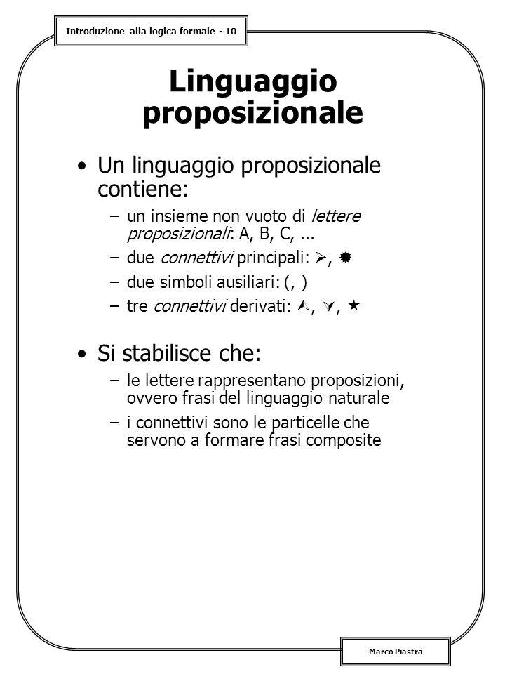 Introduzione alla logica formale - 10 Marco Piastra Linguaggio proposizionale Un linguaggio proposizionale contiene: –un insieme non vuoto di lettere proposizionali: A, B, C,...