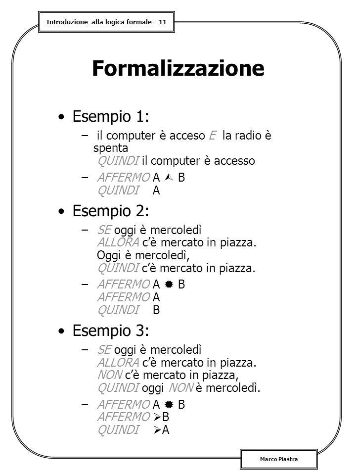 Introduzione alla logica formale - 11 Marco Piastra Formalizzazione Esempio 1: – il computer è acceso E la radio è spenta QUINDI il computer è accesso