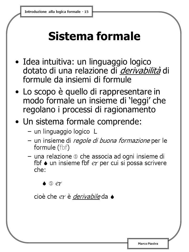 Introduzione alla logica formale - 15 Marco Piastra Sistema formale Idea intuitiva: un linguaggio logico dotato di una relazione di derivabilità di formule da insiemi di formule Lo scopo è quello di rappresentare in modo formale un insieme di 'leggi' che regolano i processi di ragionamento Un sistema formale comprende: –un linguaggio logico L –un insieme di regole di buona formazione per le formule (fbf) –una relazione  che associa ad ogni insieme di fbf  un insieme fbf  per cui si possa scrivere che:    cioè che  è derivabile da 