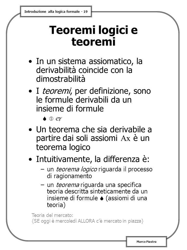 Introduzione alla logica formale - 19 Marco Piastra Teoremi logici e teoremi In un sistema assiomatico, la derivabilità coincide con la dimostrabilità I teoremi, per definizione, sono le formule derivabili da un insieme di formule    Un teorema che sia derivabile a partire dai soli assiomi Ax è un teorema logico Intuitivamente, la differenza è: –un teorema logico riguarda il processo di ragionamento –un teorema riguarda una specifica teoria descritta sinteticamente da un insieme di formule  (assiomi di una teoria) Teoria del mercato: {SE oggi è mercoledì ALLORA c'è mercato in piazza}