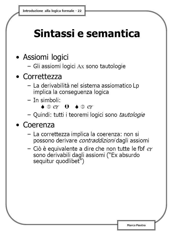 Introduzione alla logica formale - 22 Marco Piastra Sintassi e semantica Assiomi logici –Gli assiomi logici Ax sono tautologie Correttezza –La derivabilità nel sistema assiomatico Lp implica la conseguenza logica –In simboli:        –Quindi: tutti i teoremi logici sono tautologie Coerenza –La correttezza implica la coerenza: non si possono derivare contraddizioni dagli assiomi –Ciò è equivalente a dire che non tutte le fbf  sono derivabili dagli assiomi ( Ex absurdo sequitur quodlibet )