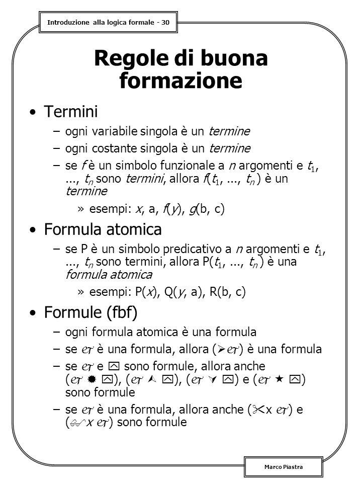 Introduzione alla logica formale - 30 Marco Piastra Regole di buona formazione Termini –ogni variabile singola è un termine –ogni costante singola è un termine –se f è un simbolo funzionale a n argomenti e t 1,..., t n sono termini, allora f(t 1,..., t n ) è un termine »esempi: x, a, f(y), g(b, c) Formula atomica –se P è un simbolo predicativo a n argomenti e t 1,..., t n sono termini, allora P(t 1,..., t n ) è una formula atomica »esempi: P(x), Q(y, a), R(b, c) Formule (fbf) –ogni formula atomica è una formula –se  è una formula, allora (  ) è una formula –se  e  sono formule, allora anche (    ), (    ), (    ) e (    ) sono formule –se  è una formula, allora anche (  x  ) e (  x  ) sono formule