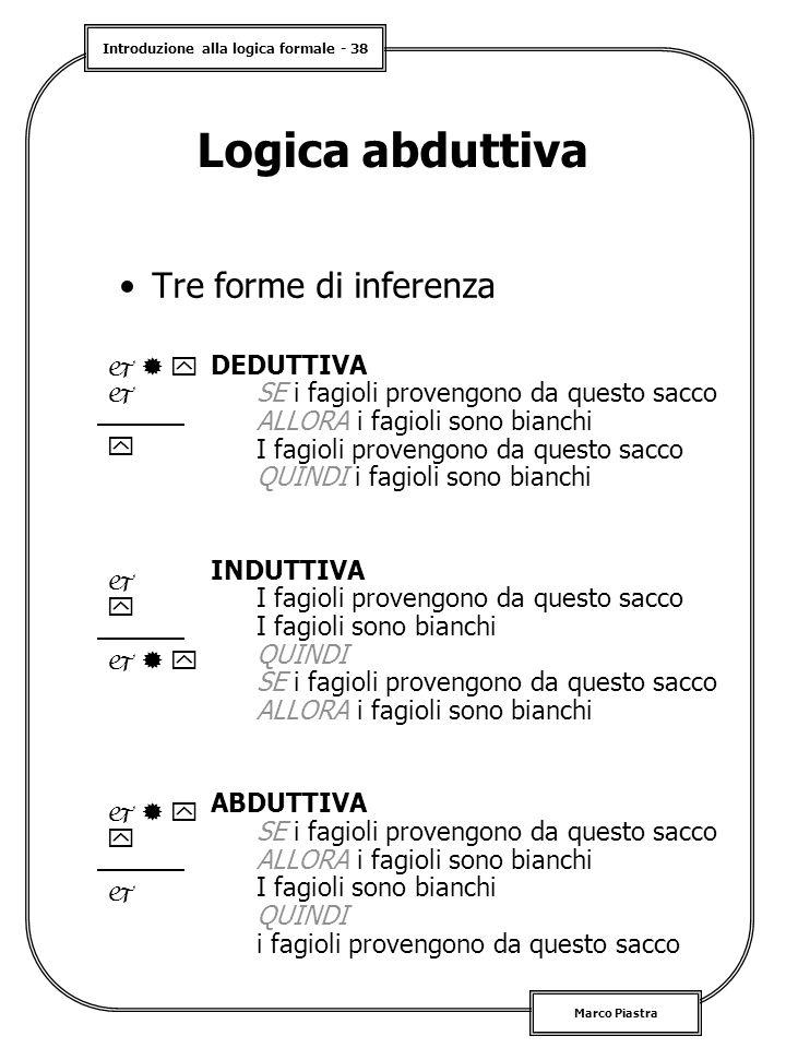 Introduzione alla logica formale - 38 Marco Piastra Logica abduttiva Tre forme di inferenza DEDUTTIVA SE i fagioli provengono da questo sacco ALLORA i