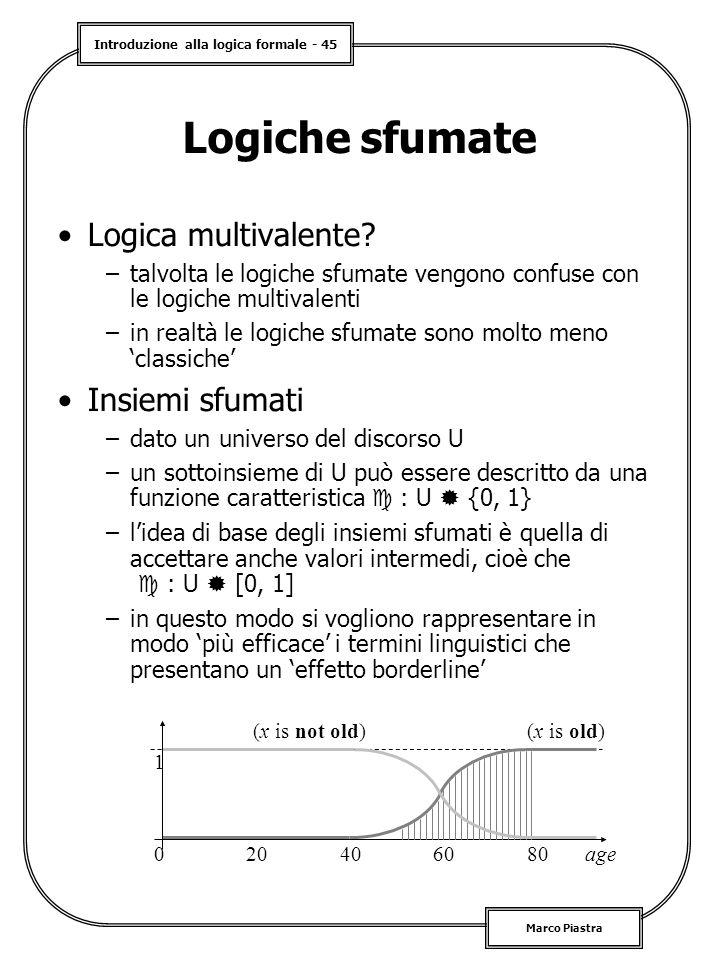 Introduzione alla logica formale - 45 Marco Piastra Logiche sfumate Logica multivalente? –talvolta le logiche sfumate vengono confuse con le logiche m
