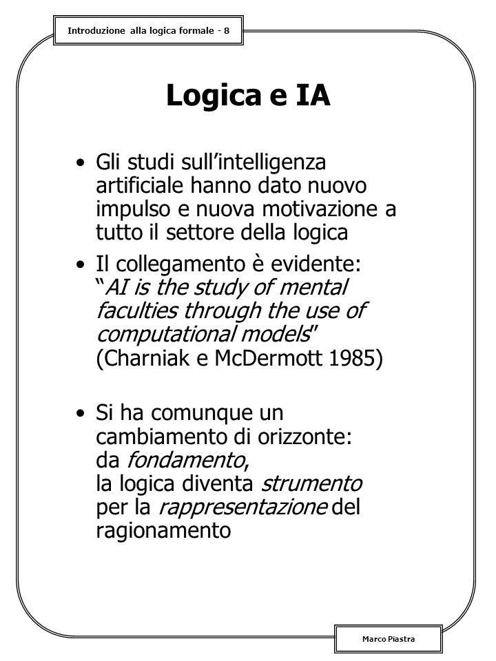 Introduzione alla logica formale - 8 Marco Piastra Logica e IA Gli studi sull'intelligenza artificiale hanno dato nuovo impulso e nuova motivazione a